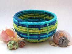 Reserved for Melanie-Yarn Coiled Basket Storage Basket Aqua