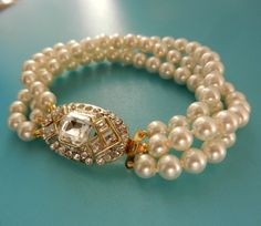 1960s vintage 3 strand Bride Pearl Bracelet high by RAKcreations