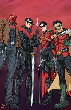 The son's of Batman: Red Hood (Jason Todd), Night Wing (Dick Grayson), Red Robin (Tim Drake), & Robin (Damian Wayne)