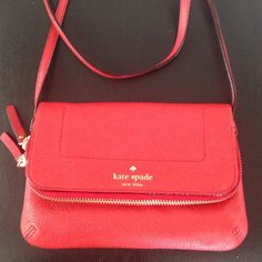 Kate spade foldover cross body Gorgeous red leather cross body. New without tags! NO TRADES. Please use the make an offer function as I do not negotiate in the comments. Thanks! kate spade Bags Crossbody Bags