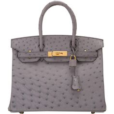 Pre-Owned Hermes Gris Agate Ostrich Birkin 30cm Gold Hardware ($43,825) ❤ liked on Polyvore featuring bags, handbags, grey, locking purse, kiss-lock handbags, hermes purse, colorful handbags and grey handbags