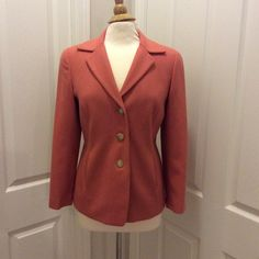 Coral Talbots Wool Blend Blazer Gorgeous coral colored Talbots blazer! Wool/cashmere. Super soft! It is lined. This is a PETITE size 8. Brown buttons that complement the color very nicely. 2 pockets. Very good condition!! Talbots Jackets & Coats Blazers