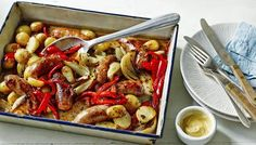 One dish, easy, roasted sausage and potato supper. See if your family can resit this one from Mary Berry! You can experiment with different types of sausage!