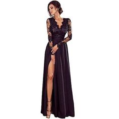 iLUGU Bodycon Maxi Dress for Women Lace Long Sleeve Deep V-Neck Empire Line High… iLUGU Bodycon Maxi Dress for Women Lace Long Sleeve Deep V-Neck Empire Line High Split Party Ball Prom Wedding Gown huntinggearsupers… Prom Dresses Two Piece, Party Dresses For Women, Pull Court, Elegant Dresses, Formal Dresses, Lace Dresses, Long Sleeve Evening Dresses, Dress Long, Slim Fit Dresses