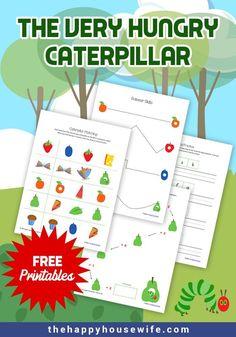 The Very Hungry Caterpillar Preschool Printable Pack Preschool Science Activities, Free Preschool, Preschool Printables, Book Activities, Free Printables, Insect Activities, Preschool Projects, Preschool Books, Kindergarten Literacy