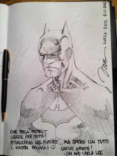 Batman by Jim Lee. How Jim Lee likes to sign his hotel guest book.