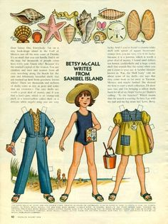 Vintage August 1974 Magazine Paper Doll Betsy McCall Writes From Sanibel Island