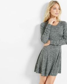 hint of cashmere fit and flare sweater dress