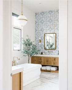 Accent Tile Bathroom, Bathroom Renos, Bathroom Styling, Bathroom Interior Design, Stand Alone Tub, Style Me Pretty Living, Home Organisation, Sweet Home Alabama, Bathroom Inspiration