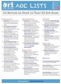 24 Movies to Show in Your High School Art class. 24 movies to show to me! Middle School Art, Art School, School Ideas, School Lessons, Art Lessons, Art History Lessons, Art Fauvisme, Classe D'art, Art Handouts