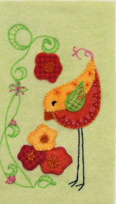 Feathers and Flowers - Wool Applique