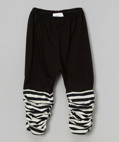 This Victoria Kids Black & Pearl Stripe Ruched Leggings - Infant & Toddler by Victoria Kids is perfect! #zulilyfinds