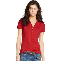 Polo Ralph Lauren Slim-Fit Polo Shirt (10085 RSD) ❤ liked on Polyvore featuring tops, red, red top, sexy tops, red polo shirt, slim polo shirts and polo shirts