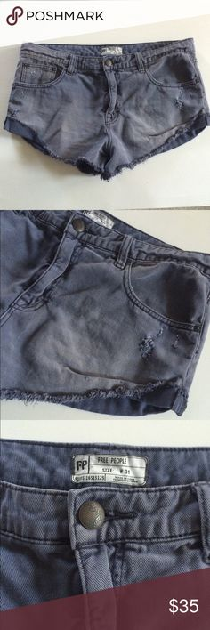 "Free People gray shorts Free People distressed gray shorts. Size 31. Inseam measures 3"". Rise is 11"". Waistband is 36"". Five pockets total Manufactured with a semi faded/ distressed look. The sides are sewn in a folded manner. This is in EUC!  NO TRADES Reasonable offers accepted Great bundle discounts Free People Shorts Jean Shorts"