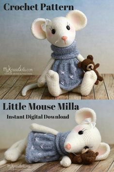 Milla is an adorable crocheted Mouse made with a PDF pattern The pattern is available as an Instant Digital Download so you can start gathering yours supplies to make yours right away! #crochet #crochetdoll #amigurumi #ad #amigurumidoll #instantdownload
