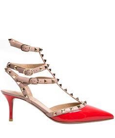 Valentino Orange Rockstud 65 Patent Leather T-Bar Pumps | Women's Shoes | Liberty.co.uk
