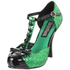 Funtasma By Pleaser Women's Festive T-Strap Pump ($36) ❤ liked on Polyvore featuring shoes, pumps, heels, green glitter shoes, t strap pumps, green platform pumps, glitter shoes and glitter platform pumps