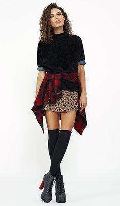 red & black flannel + oversized velvet sweater + leopard mini + over the knee socks + jeffrey campbell litas + obsessed