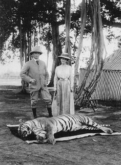 George and Mary in India, with a tiger they killed.