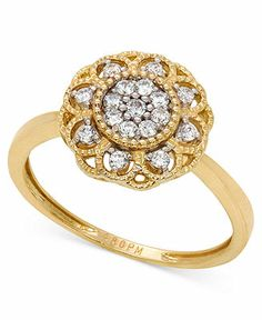 YellOra™ Diamond Ring, YellOra™ Diamond Cluster Flower Ring (1/4 ct. t.w.) - Rings - Jewelry  Watches - Macy's