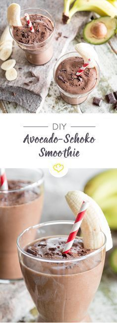 Schokolade zum Frühstück: Avocado-Schoko-Smoothie Many people want chocolate for breakfast. This smoothie turns your wish into reality: creamy avocado and sweet banana with a little milk, honey and cocoa turn into a top-class chocolate smoothie. Breakfast And Brunch, Avocado Breakfast, Breakfast Smoothies, Vegan Breakfast Recipes, Avocado Toast, Healthy Recipes, Snacks Recipes, Cake Recipes, Paleo Dessert
