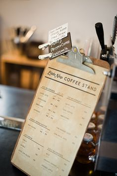Little Nap Coffee Stand menu #simple #clipboard #shop #cafe