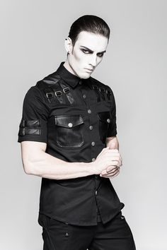 Gothic- / Military-Kurzarm-Hemd Shadow