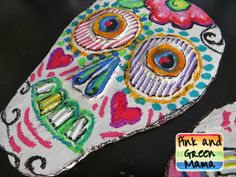 Recyled-Cardboard-Art-Project-Sugar-Skull-Day-of-the-Dead-Kid-Friendly-Craft