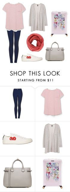 """""""Traveling to New York"""" by aliciabadrick ❤ liked on Polyvore featuring Topshop, MANGO, Play Comme des Garçons, H&M, Burberry and Ted Baker"""