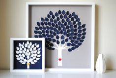 Initial thumbprints/leaves for a framed Wedding Tree