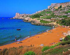 Ramla Bay on Maltese Island of Gozo. This is a wonderfully beautiful orange sand beach!