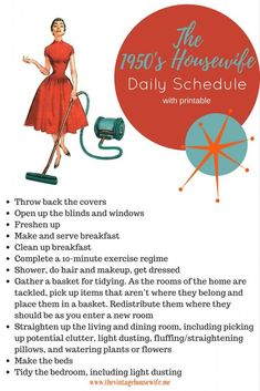 Want to try the housewife challenge? Here's your Daily Schedule! via The Vintage Housewife care care clinic care diy care ideas care workout Deep Cleaning Tips, House Cleaning Tips, Spring Cleaning, Cleaning Hacks, Diy Hacks, Daily Cleaning, Cleaning Supplies, 1950s Housewife, Vintage Housewife