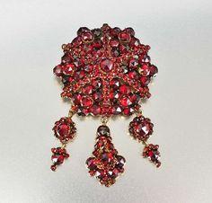 Victorian Bohemian Garnet Necklace Pendant Brooch by boylerpf