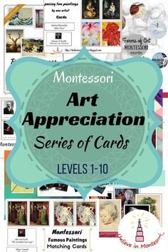 Complete Art Appreciation Cards Montessori Series Levels 1-10 Bundle Printables. It contains paintings matching, learning about most famous paintings, artists, art movements, art genres, art technique and other
