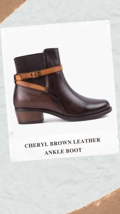 Fashionable ladies ankle boot featuring two tone leather upper. Lovingly hand burnished two tone leather upper. PU lining and sock. Mid height anti slip and durable TPR sole unit. Brown Leather Ankle Boots, Autumn Style, Cheryl, Sock, Autumn Fashion, Lady, Women, Fall Fashion, Tan Leather Ankle Boots