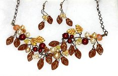 Cream and Brown Beaded Necklace with by CherylParrottJewelry