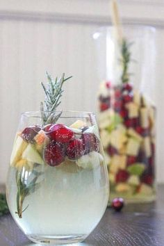 Toast the holiday season with Cranberry & Rosemary White Christmas Sangria.