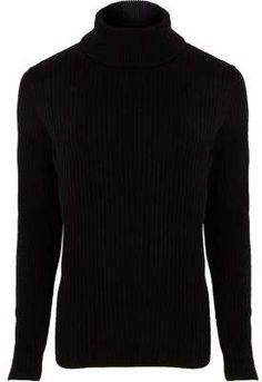 e8180263a2852d Mens Sweaters | Mens Cardigans | Mens Knitwear | River Island. Black Roll  Neck JumperRoll ...