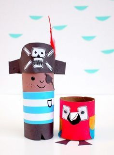 Better than buried treasure, these Pirate and Parrot Toilet Paper Roll Crafts will please any kid. Use empty toilet paper rolls to make these recycled crafts and have a swash-buckling good time while doing it. Toilet Paper Roll Crafts, Cardboard Crafts, Cardboard Tubes, Cardboard Playhouse, Projects For Kids, Diy For Kids, Project Ideas, Crafts To Do, Crafts For Kids