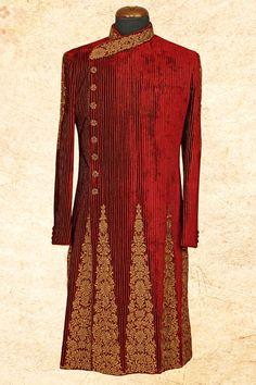 #Maroon aristocratic #velvet sherwani with overlapping style-IW652