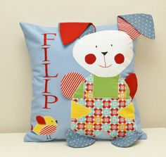 Personalized Cushion Pillow Cover for boy. Blue cushion. by AGASHE