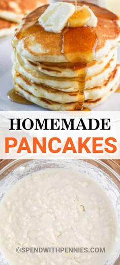 Homemade pancakes are foolproof with this easy recipe. Made with a handful of ingredients these are fluffy and delicious pancakes from scratch. Try adding bananas, blueberries, or even pumpkin into this yummy recipe! #spendwithpennies #pancakes #pancakerecipe #homemade #fromscratch #breakfast #easypancakerecipe How To Cook Pancakes, Tasty Pancakes, Homemade Pancakes, Fluffy Pancakes, Pancakes From Scratch, Recipe From Scratch, Perfect Pancake Recipe, Pancake Toppings, Perfect Breakfast