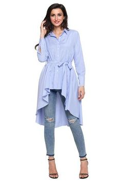 Stylish Pink Striped Lapel Shirt Belted Her Fashion Blouse Top – HisandHerFashion.com Chic Dress, Dress Up, Girls Blouse, Blouse Styles, Stripe Print, Long Sleeve Shirts, Ruffle Blouse, Tunic Tops, Clothes For Women