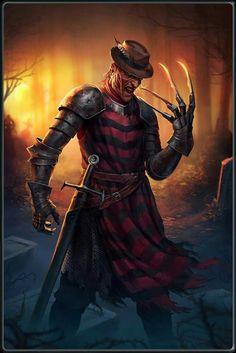 Nightmare on Elm St - Freddy Cruger - Knight Best Horror Movies, Horror Films, Scary Movies, Horror Fiction, Freddy Krueger, Arte Horror, Horror Art, Freddy Horror, Horror Photos