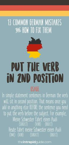 German Grammar Mistakes You Make & How to Fix Them Immediately Common German grammar mistakes - Verb positionCommon German grammar mistakes - Verb position German Language Learning, Language Study, Learn A New Language, Dual Language, English Language, German Grammar, German Words, Learn German, Learn French