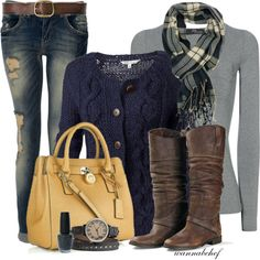 Perfect cooler weather outfit. Very nice colors. Love the boots and the color of the purse. I even like the scarf. I'd want less holes in the jeans though.