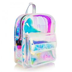 Holographic Clear Backpacks Irisdecent PVC Mini Backpacks for Girls Clear Backpacks, Cute Mini Backpacks, Backpacks For Sale, Girl Backpacks, Silver Backpacks, School Backpacks, Clear Plastic Bags, Clear Bags, Holographic Bag