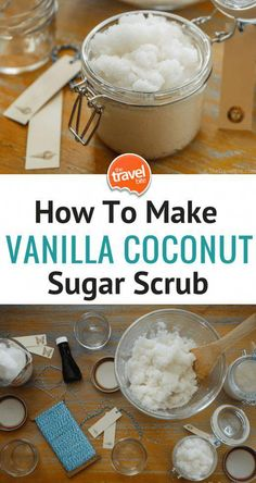 How To Make Vanilla Coconut Sugar Scrub - An easy-to-make DIY project that's perfect for small gifts.  I love having mine by the kitchen sink for a quick Caribbean-scented hand scrub. #FaceMaskForBlackheads Sugar Scrub Homemade, Sugar Scrub Recipe, Homemade Vanilla, Simple Sugar Scrub, Sugar Hand Scrub, Homemade Body Scrubs, Brown Sugar Scrub, Body Scrub Recipe, Diy Body Scrub
