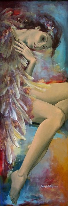 'Earthly feelings' Canvas Print by dorina costras I Believe In Angels, Illustration Art, Illustrations, Angels Among Us, Angel Art, Beautiful Artwork, Figurative Art, Female Art, Painting & Drawing