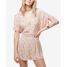 Free People Meet Virginia Printed Romper ($55) ❤ liked on Polyvore featuring jumpsuits, rompers, pink combo, pink romper, free people rompers, free people romper, pink rompers and playsuit romper